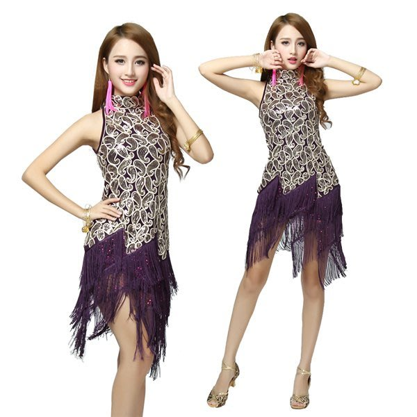 5Cgo【鴿樓】會員有優惠 42815395664 拉丁舞演出服表演服裝流蘇款拉丁舞比賽服裝女成人 拉丁舞裙