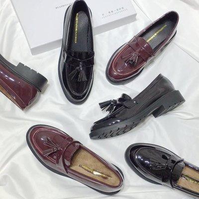 復古英倫小皮鞋女春2018新款韓版黑色百搭流蘇單鞋平底淺口學生鞋