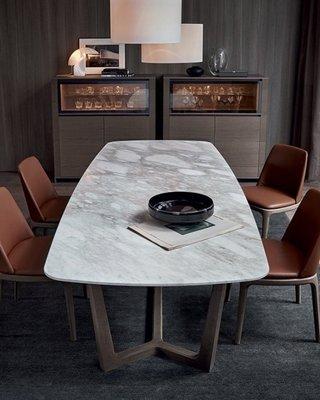 [米蘭諾家具]複刻Poliform Concorde 餐桌 工作桌 天然石材餐桌 台灣製造