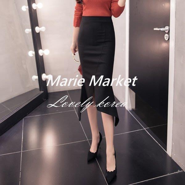 ☆ Marie Market ☆ 韓國訂單 性感開岔針織半身裙 中長款包臀裙 黑色打底裙 OL必備時尚一步裙