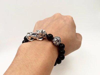 925純銀招財貔貅黑瑪瑙手環( 男女同款,小;現貨特賣)