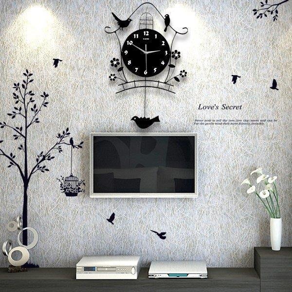 麥麥部落 掛鐘北歐夜光鐘表掛鐘客廳創意小鳥個性現代裝飾掛表藝術搖擺石英MB9D8