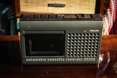 【古物箱】早期 飛利浦 特殊造型 小型 隨身 桌上型 卡帶機 (故障 瑕疵品) (古董 骨董 老件)