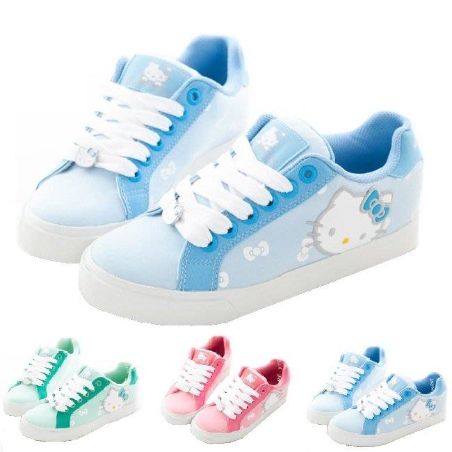 41+現貨免運費 Hello Kitty 蝴蝶結鑽飾 拼接 皮革休閒帆布鞋 都會送 快速達 小日尼三