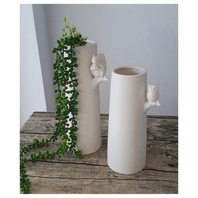 【現貨】貓頭鷹造型 陶瓷花瓶 適合插花園藝~~昌侑藝術CHY畫廊