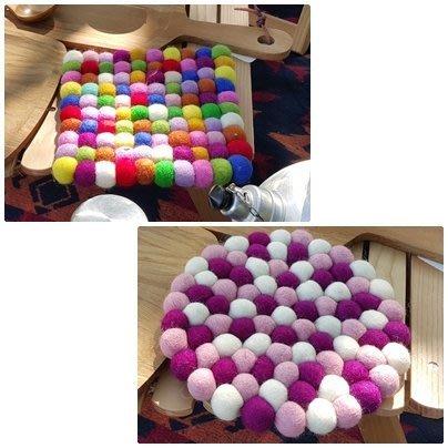 Sugar Korea100%尼泊爾羊毛氈彩色球球圓型方型露營野餐墊 鍋墊 桌墊 隔熱墊 20cm 大款 現貨
