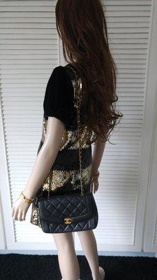 美國帶回 整件黑X金 亮片天鵝絨短洋裝 不包括鍊包
