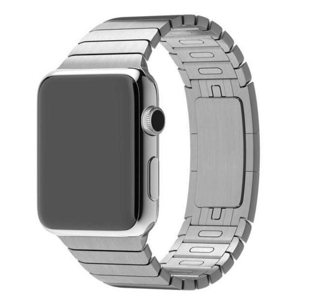 蘋果 APPLE WATCH iwatch1代 2代3代 不鏽鋼鏈式錶帶,38mm,銀/黑 單價