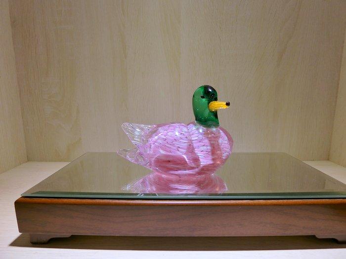【藝晶香琉璃藝術工坊】手工琉璃粉色綠頭鴨藝術品擺飾擺件家居文創送禮