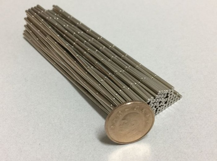 迷你圓柱釹鐵硼強力磁鐵2mmx10mm-適合玩具零件製造哦!