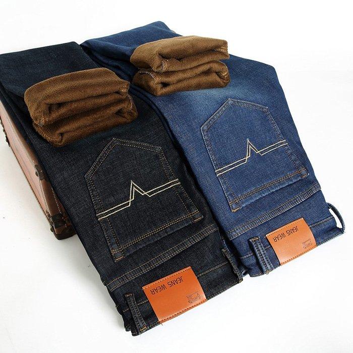 彈力冬季外貿男士加絨彈力牛仔褲青年男式商務修身黃金絨大碼直筒長褲 Y009