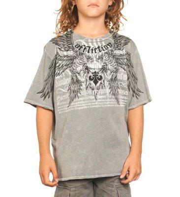 AFFLICTION 美式重機潮牌 A9180 剩小童 灰色短袖T恤 出清價不退換