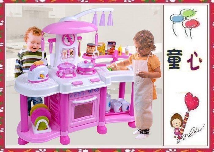 歐式豪華大烤箱廚房~有電燈音效可開微波爐~水龍頭可出水喔~粉色◎童心玩具1館◎