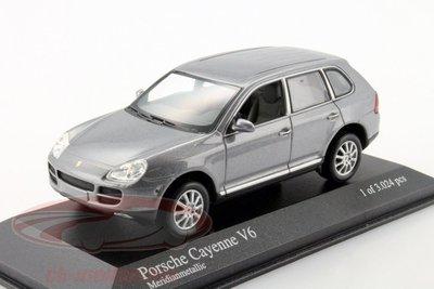 【全球限量3024輛】1/43 Porsche Cayenne凱燕V6 2003鐵灰色,德國Minichamps製造