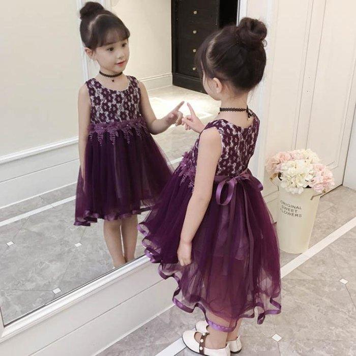 女童洋氣連衣裙2018夏季新款中小童時尚燕尾絲帶公主裙潮流禮服裙洋裝