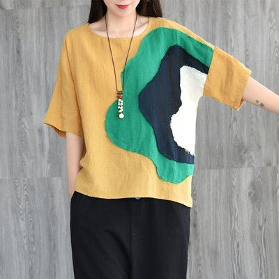 棉麻T恤 亞麻T恤 寬鬆 印花 復古 文藝  文藝 拼接亞麻衫百搭寬松圓領短袖上T恤