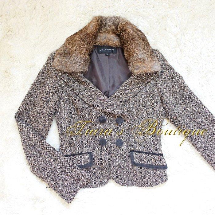 JILL STUART 皮草領 毛呢 天鵝絨 雙排扣 性感顯瘦和高級成熟西裝外套 秋冬的時尚保暖策略 (344)