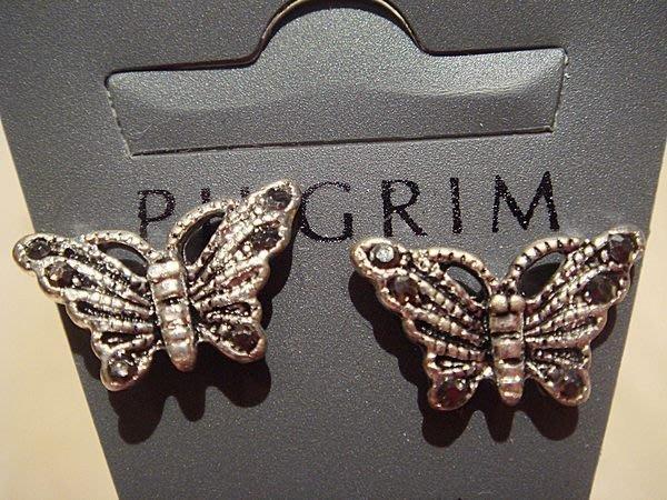 全新丹麥設計款名牌 PILGRIM 復古銀蝴蝶造形穿式耳環,低價起標無底價!本商品免運費!