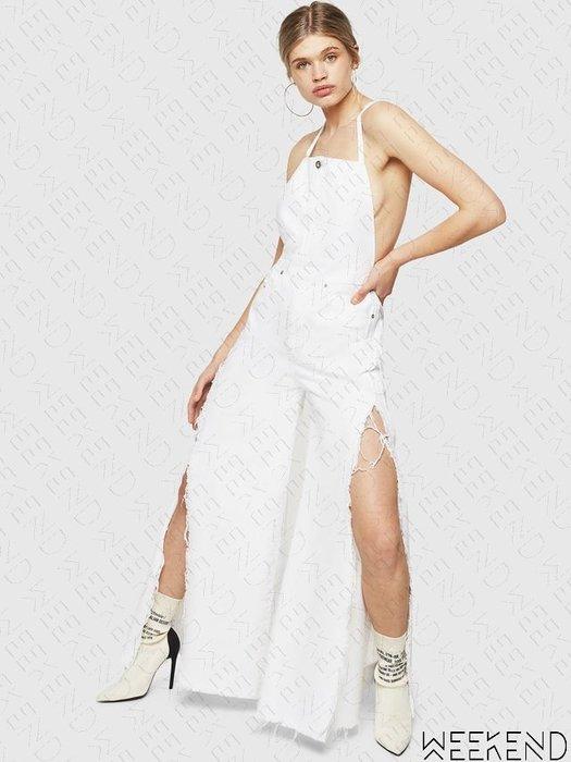【WEEKEND】 DIESEL DE-PANAREA 挖背 露背 細肩帶 開高衩 連身褲 牛仔褲 寬褲 白色