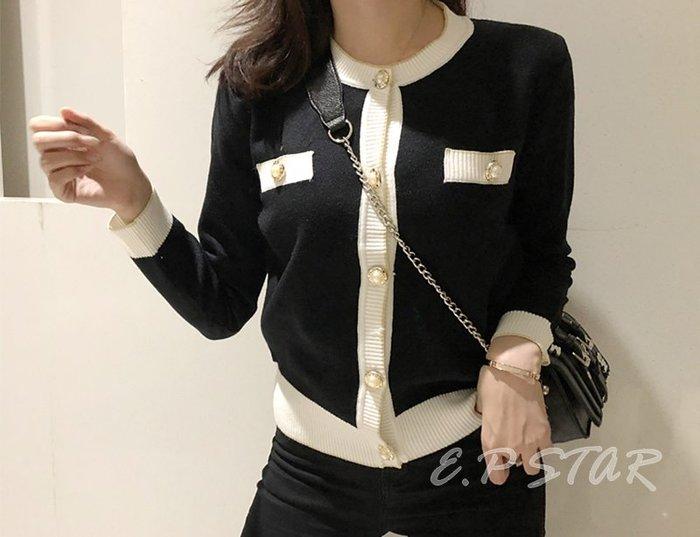 【E.P STAR】 歐美小香復古風 氣質珍珠釦  開襟針織衫 線衫外套 長袖針織外套