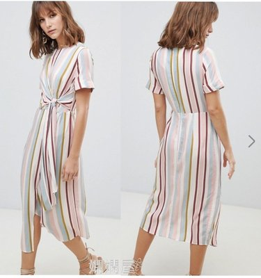 (嫻嫻屋) 英國ASOS-Warehouse優雅時尚粉嫩條紋圓裙短袖收腰綁帶中長裙洋裝UK6-UK18