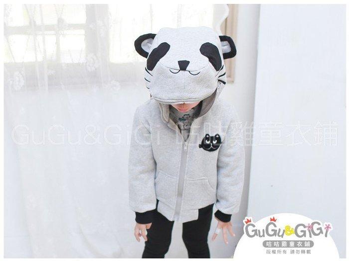 【RB2120921】秋冬款~貓熊造型帽黑貓貼布灰色外套$199