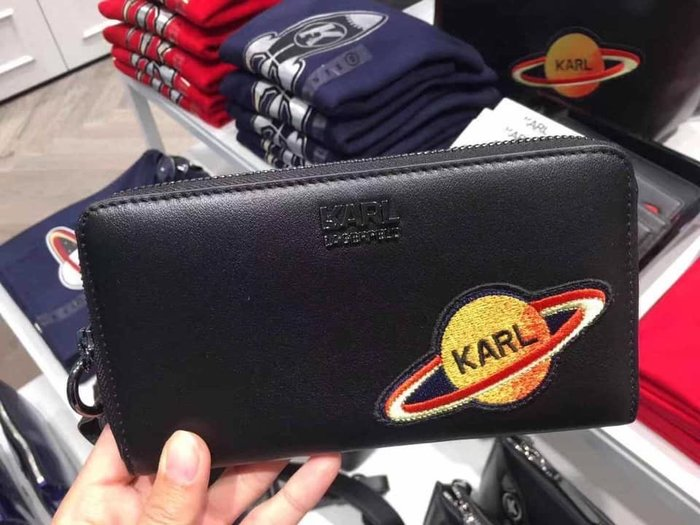 Karl Lagerfeld outlet Space系列100% 牛皮長夾