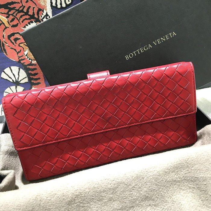 二手旗艦 BOTTEGA VENETA 紅色 編織小羊皮 9卡 釦式 長夾 皮夾 (公益店)08502