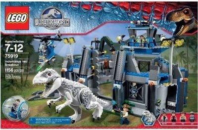 LEGO 樂高 75919 侏羅紀世界 帝王暴龍逃脫 變種白暴龍 全新未拆 盒況完整 台樂貨 附Lego 運輸箱