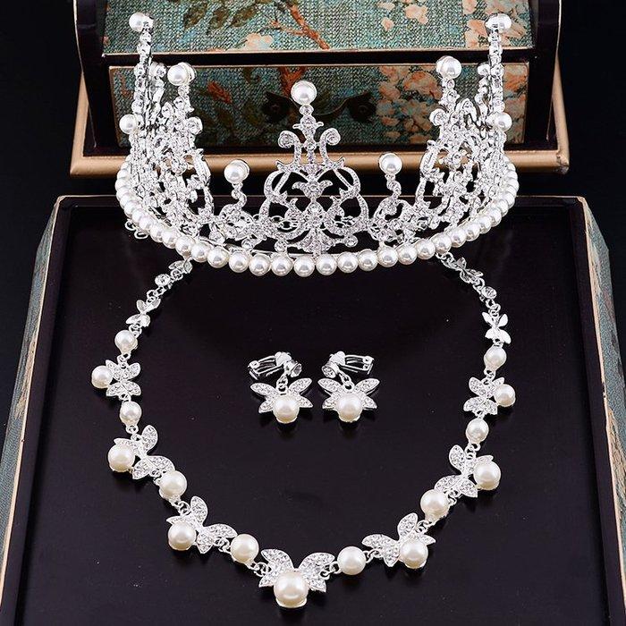 頭飾 髮飾 首飾 新娘飾品韓式新娘頭飾皇冠水鉆珍珠婚紗禮服發飾配飾三件套裝