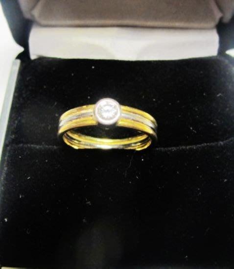 [一品軒促銷品]天然鑽石0.23克拉黃18k3線戒指