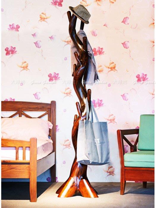 紫檀木 衣架【大綠地家具】衣帽架/實木衣架/自然造型/木紋獨特/非貼皮/環保漆料