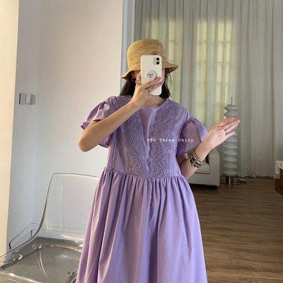 visa正韓專屬女裝TU 重工藝蕾絲拼接法式少女風泡泡袖寬松遮肉連身裙子洋裝2021夏款