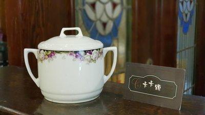 【卡卡頌 歐洲跳蚤市場/歐洲古董】法國老件_玫瑰 花卉 雙耳瓷罐 糖罐 歐洲老瓷器 器皿 收藏 p1340✬