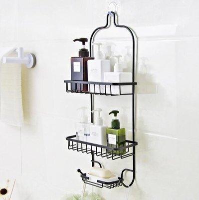置物架 收納用品 浴室免打孔置物架衛生間鐵藝收納架廚房多層整理挂架壁挂式儲物架—莎芭