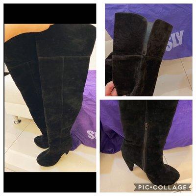 單一特價不議價~日本全新專櫃正品SLY絨面過膝大腿長靴 原價5000台幣