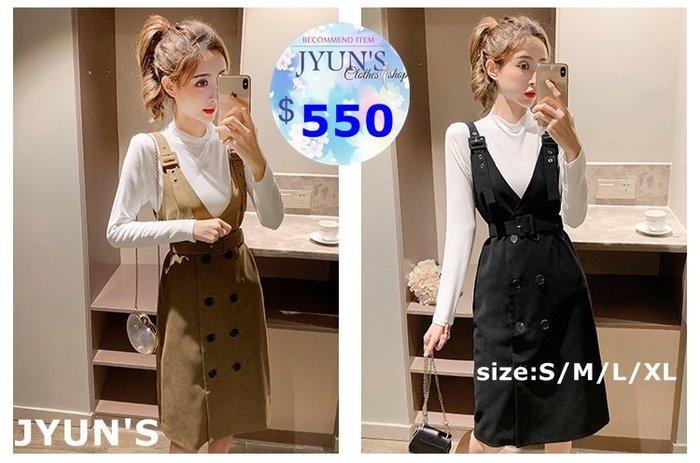 JYUN'S 秋季熱銷新款經典版型排扣背帶裙淑女輕熟風百搭時尚連身裙吊帶裙吊帶洋裝 附腰帶 大尺碼 2色S~XL預購