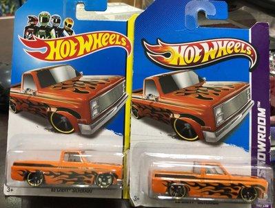 1絕版風火輪 Hot Wheels 雪佛蘭 貨卡 皮卡 83' Chevy silverado 火焰橘