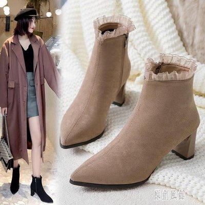 2019秋冬新款尖頭高跟短靴時尚細跟短靴女單靴英倫風瘦瘦靴子 LR13537
