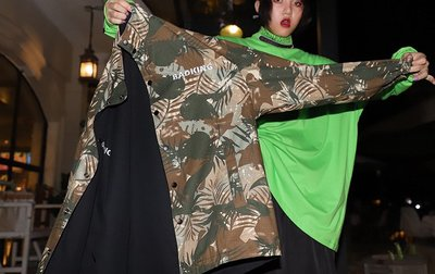 kuosey UN 雙面穿迷彩外套氣質情侶裝秋冬裝2019新款酷帥氣bf風休閑上衣