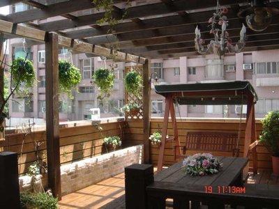 露台南方松 採光罩 圍牆 遮陽棚 地板 木桌椅 【園匠工坊】免費到府估價