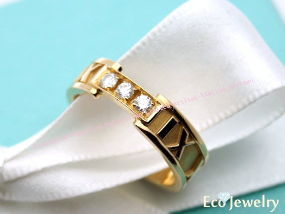 《Eco-jewelry》【Tiffany&Co】 稀有款 羅馬數字鑲三鑽玫瑰金戒指~專櫃真品 未使用