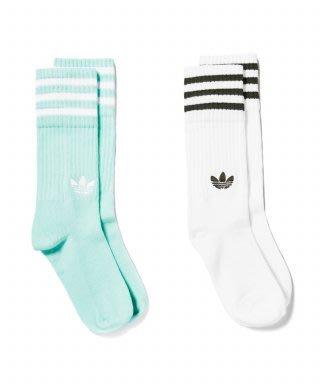 adidas Solid Crew Socks愛迪達清新復古運動襪子 兩雙入中筒襪 蒂芬妮綠長襪 白色長襪 DH3362