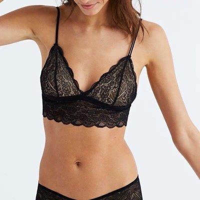 Miolla 美國品牌J.crew旗下 Madewell 黑色蕾絲性感超美內衣 Lace Liana Longline Bralette
