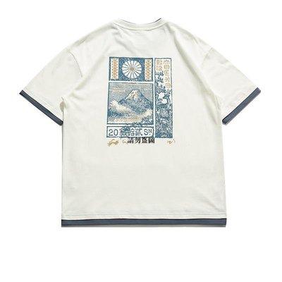 高街潮品 潮牌it neith BIAS日系短袖t恤男復古假二件純棉圓領寬松百搭夏季