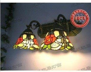 {美學}新上架蒂凡尼鏡前浴室燈歐式田園鏡櫃壁燈二三頭玫瑰MX-2039