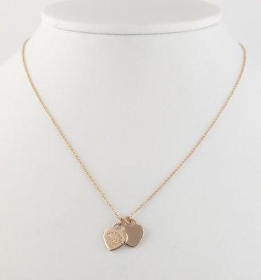 (可缐上無息分期刷卡)Tiffany&Co  18k 玫瑰金項鍊 750 墬尺寸1x1cm  鍊長42cm