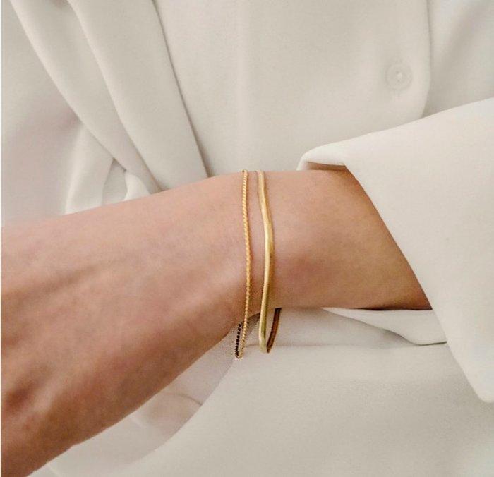 FUDGE法橘 / 正韓 [純銀系列] DAILY純銀鍍金質感雙層手鍊/LS19528