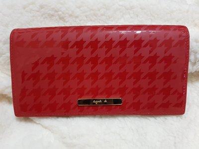 日本帶回來的agnes b. 千鳥紋PVC翻扣長夾(紅/金logo)最後一個促銷價