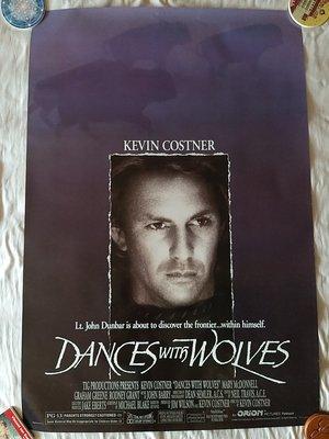 與狼共舞(美版雙面) 原版電影海報 Dances with wolves 凱文·科斯納 奧斯卡獎